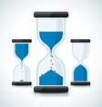 Blue business styled sand clock icons vector image