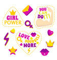 cartoon color feminism slogan and patches set vector image