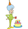 Cartoon senior citizen lady with a birthday cake vector image