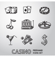 Casino gambling freehand icons set vector image