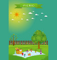 outdoor picnic in garden vector image
