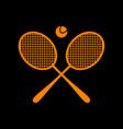 tennis racket sign orange icon on black vector image