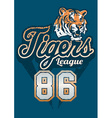 Tiger sports league jersey print vector image