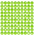 100 school years icons set green circle vector image