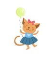 Cat Cute Animal Character Attending Birthday Party vector image