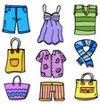 doodle of clothes women object set vector image
