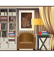 room with shelves vector image