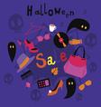 Halloween sale print vector image