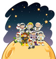 Astronaunts standing on the planet vector image vector image