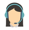 female person with headset icon vector image