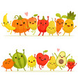 cartoon fruits and vegetables in group vector image
