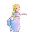 Cartoon girl wearing classic long dress vector image