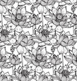 Floral seamless pattern with hand drawn lotus vector image