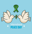 international peace day two dove flying and branch vector image