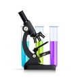 Microscope With Test Tubes Realistic Image vector image