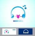 Music headphones logo icon love heart vector image