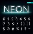 Neon alphabet Glowing font part 2 vector image