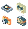 Retro media Radio reel tape recorder turntable vector image