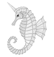 Zentangle stylized black Sea Horse like Unicorn vector image