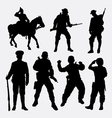 Military soldier army activity silhouette vector image