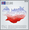 polygonal map of iceland with gradient inside vector image