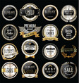 premium and luxury silver and black retro badges vector image