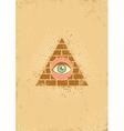 eye pyramid grunge vector image