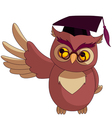 wise owl with graduation cap vector image