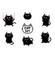 black fat cat set nail claw scratch sitting vector image