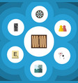 Flat icon games set of arrow mahjong jigsaw and vector image