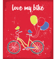 Retro poster with Bicycle birds and balloons vector image
