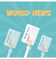 World News Outstretched hand with news papers vector image