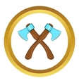 Two crossed axes icon cartoon style vector image
