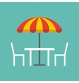 table chairs and parasol vector image