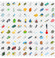 100 painful icons set isometric 3d style vector image
