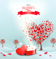 Valentines day landscape with heart shaped trees vector image vector image