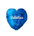 blue valentine watercolor triangle heart vector image