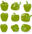 Pepper set of green peppers vector image