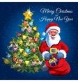 Christmas tree and Santa with presents bag vector image