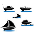 Isolated silhouette of boats vector image
