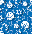 Sports balls in blue and white seamless pattern vector image