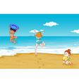 kids on seashore vector image