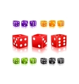 Colorful Dices with white dots icon set vector image vector image