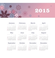 Calendar 2015 year with flowers vector image