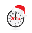 clock with christmas hat color vector image