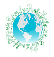 Eco symbols in green world vector image