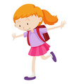 Little girl with backpack on her back vector image