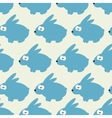 Seamless pattern with blue rabbit on grey vector image