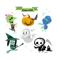 Cartoon Halloween characters icons vector image