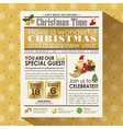 Christmas party newspaper poster template vector image